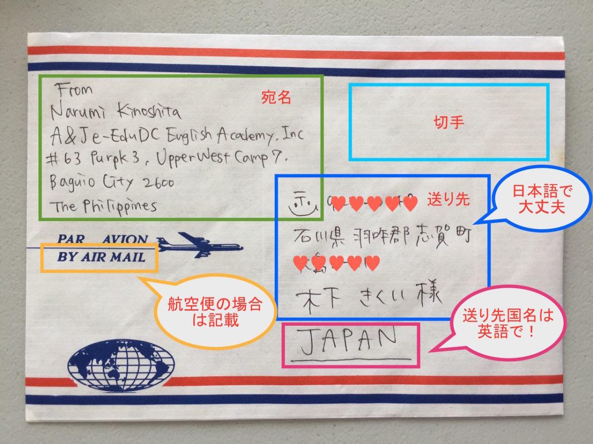 宛名の書き方 バギオから日本へ