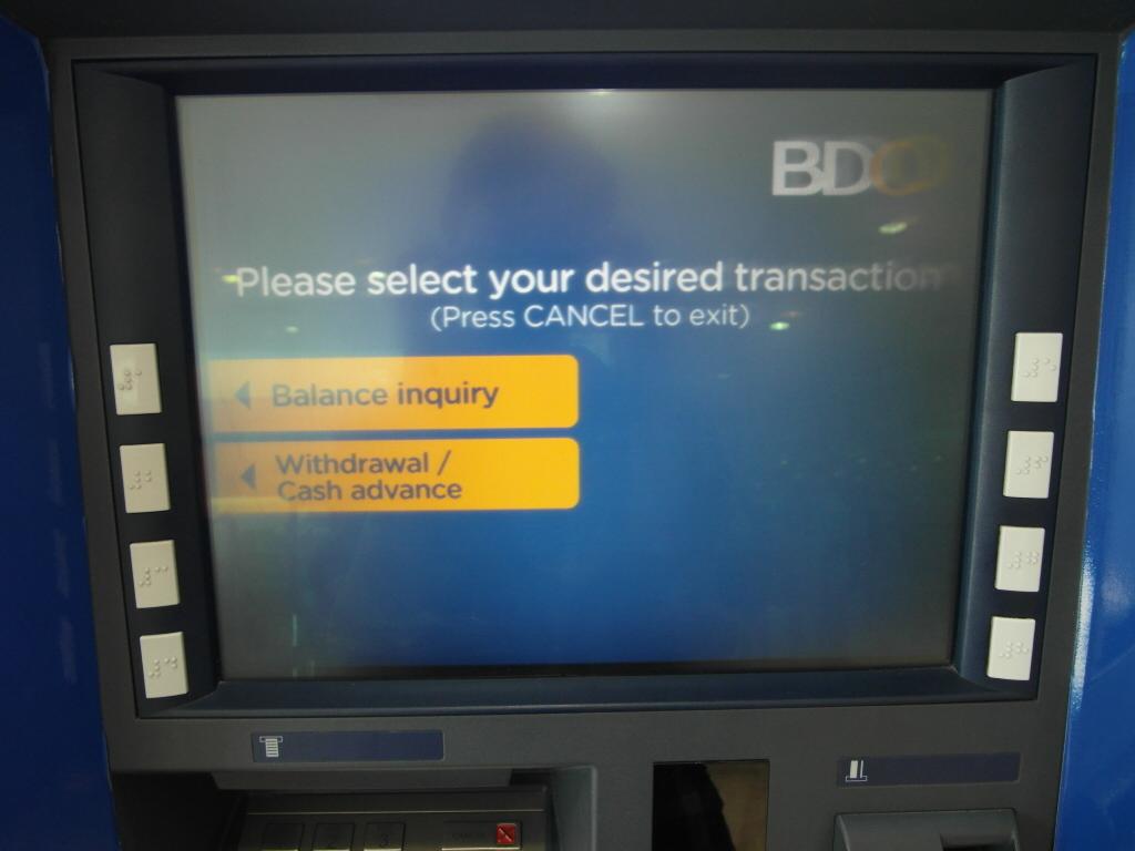 ATM 取引内容選択