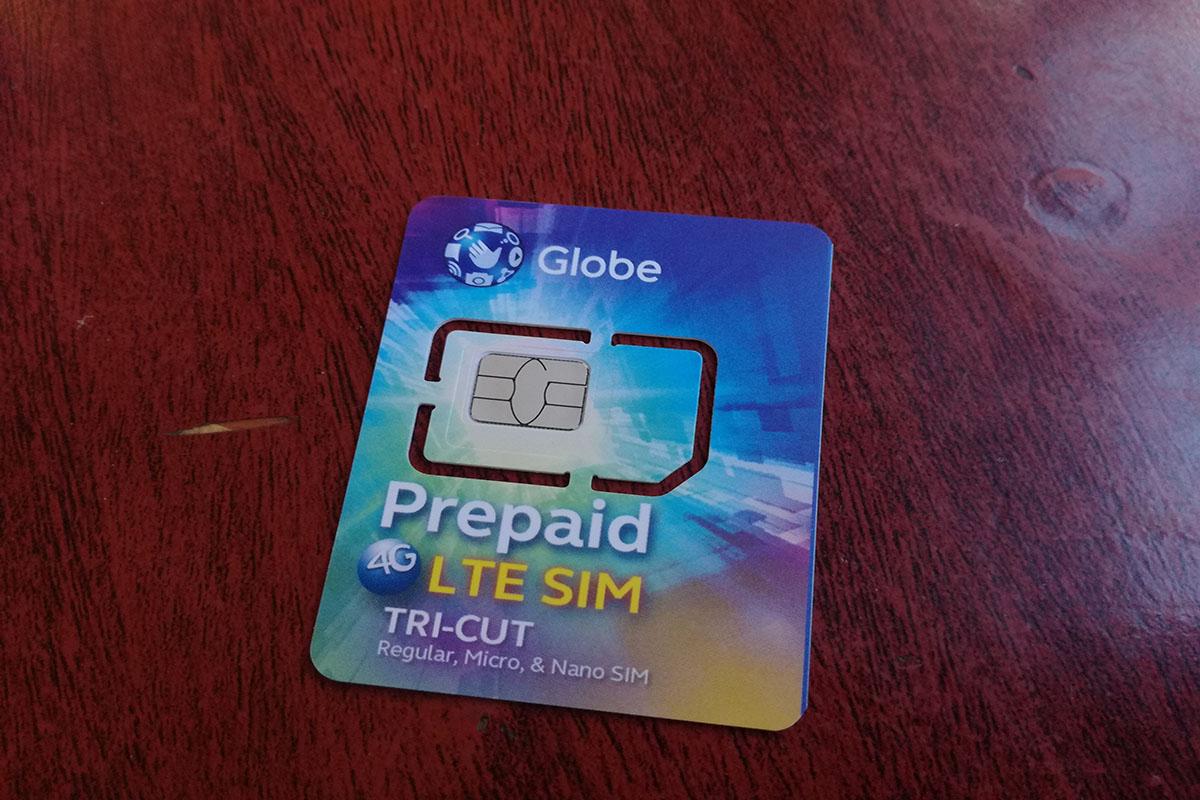 GlobeのSIMカード前面