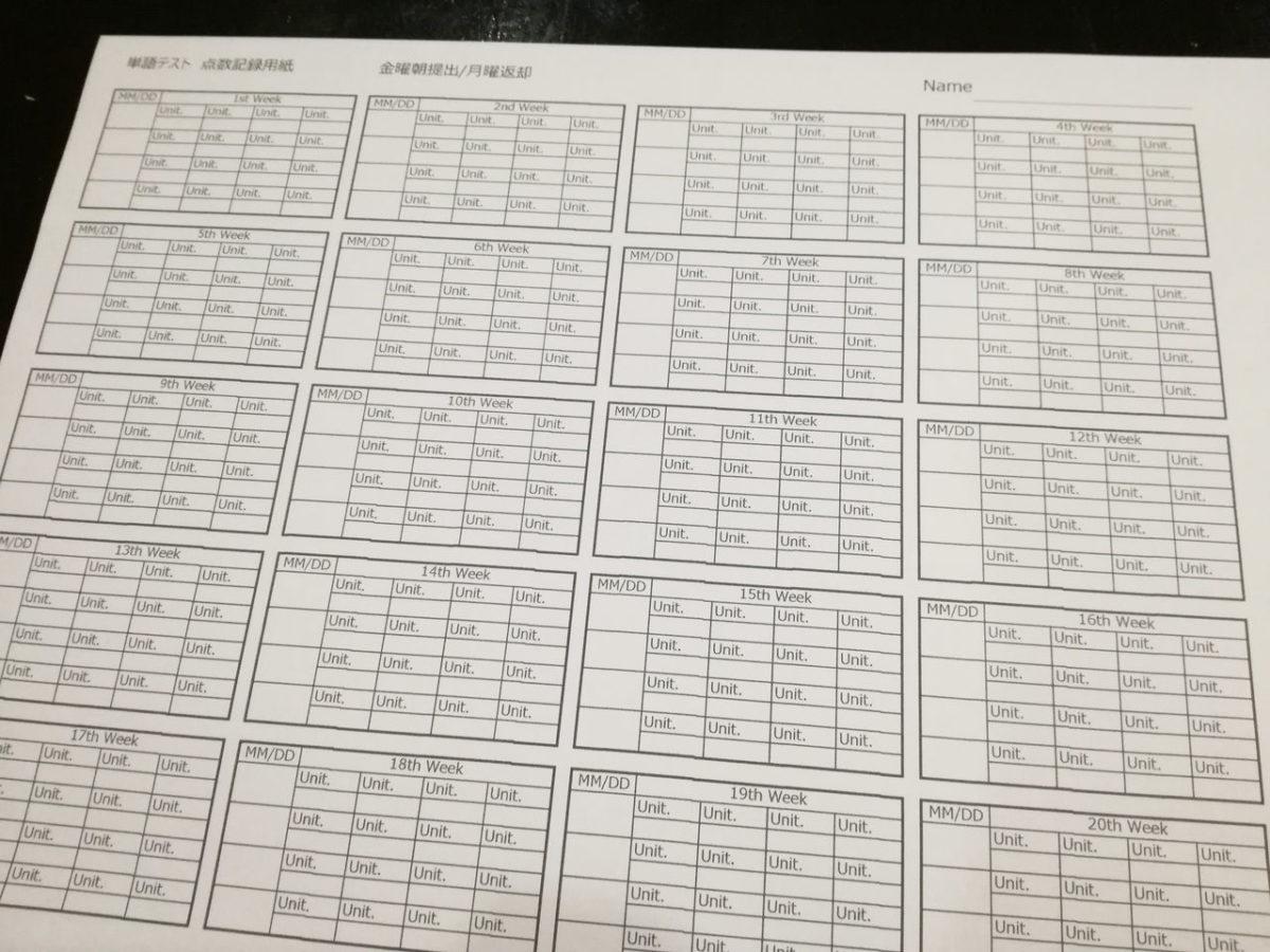 A&J 単語テスト 点数記録用紙