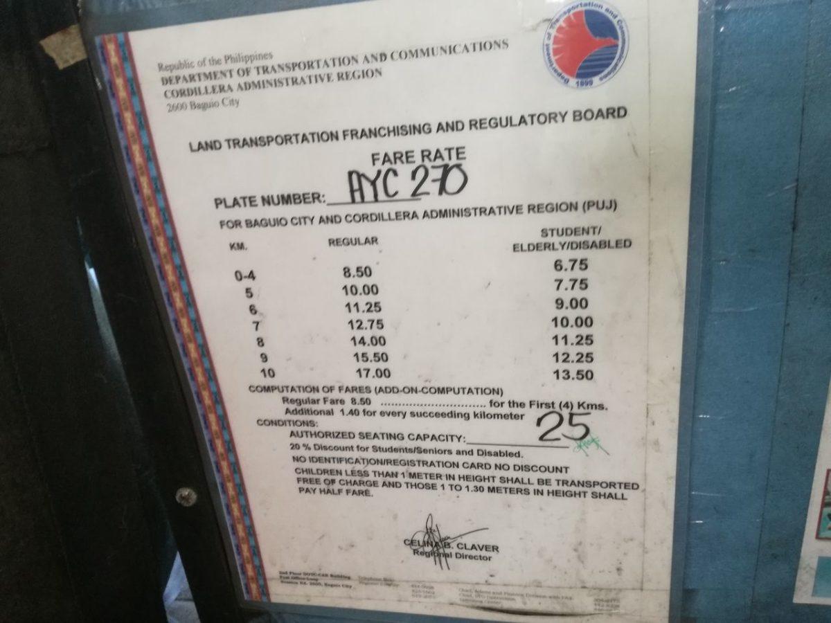 ジプニーの乗車料金