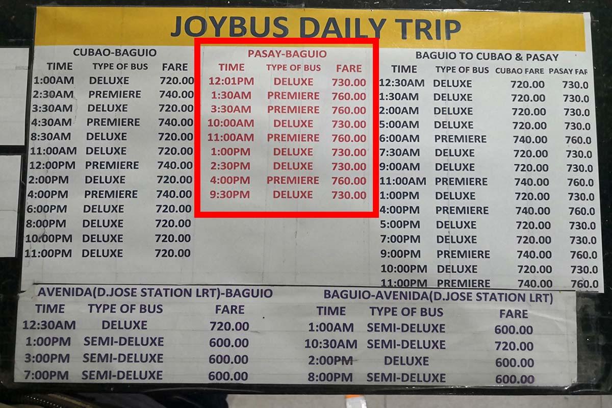 ジョイバス時刻表 パサイからバギオ